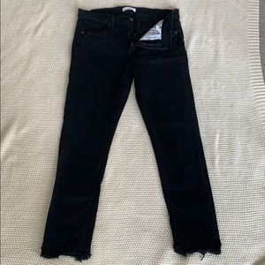 Loft size 10 raw edge black denim